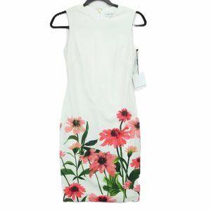 NWT Calvin Klein size 2 white floral dress